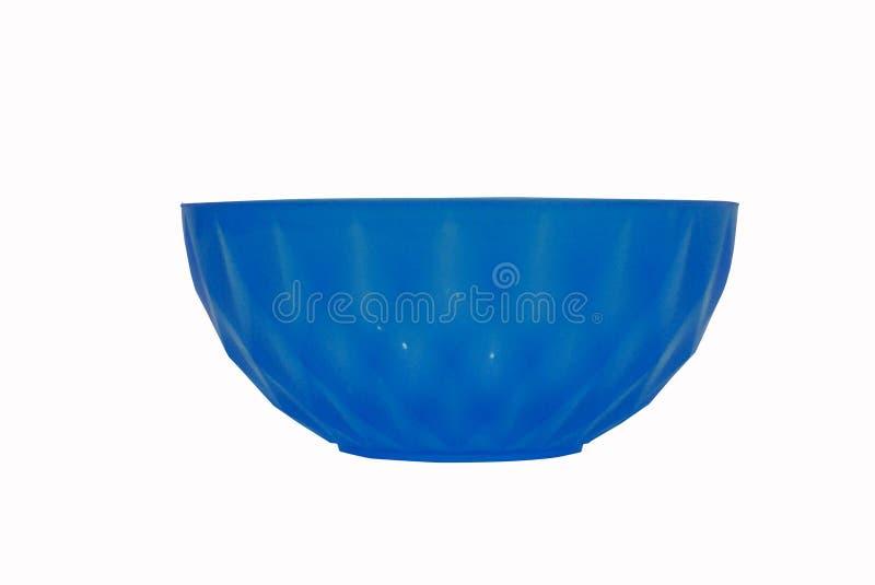 在白色背景隔绝的蓝色塑料碗 库存图片
