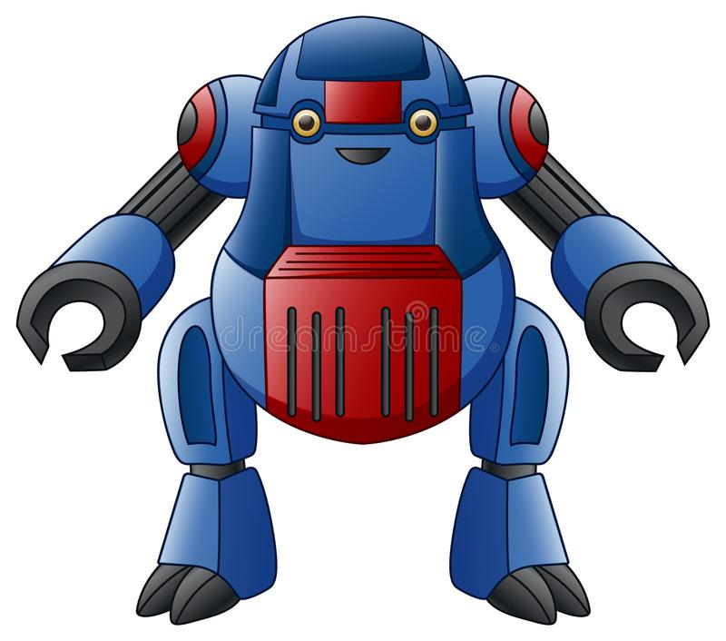 在白色背景隔绝的蓝色机器人字符 皇族释放例证