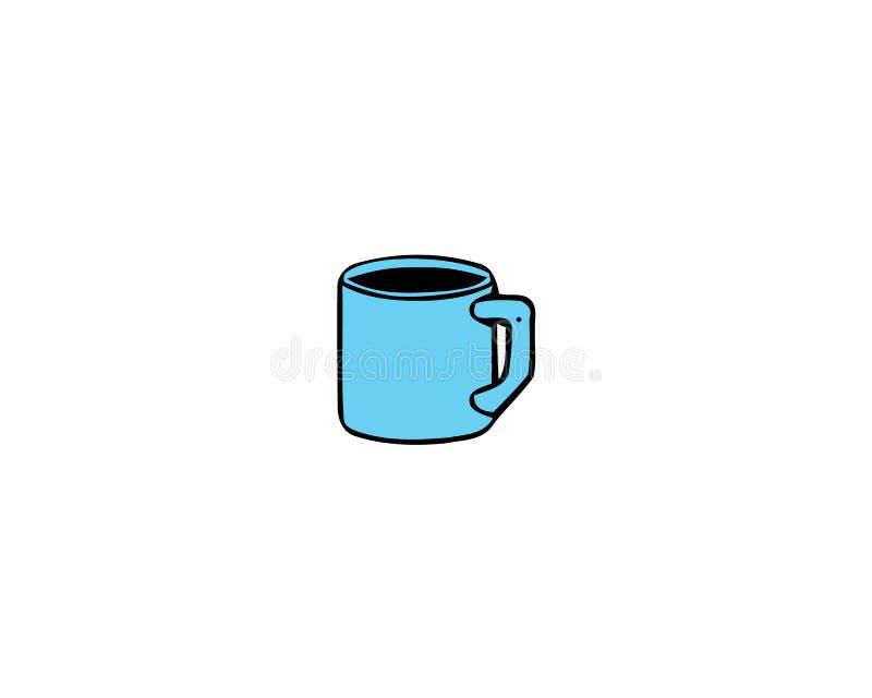 在白色背景隔绝的蓝色杯子的传染媒介例证 库存例证