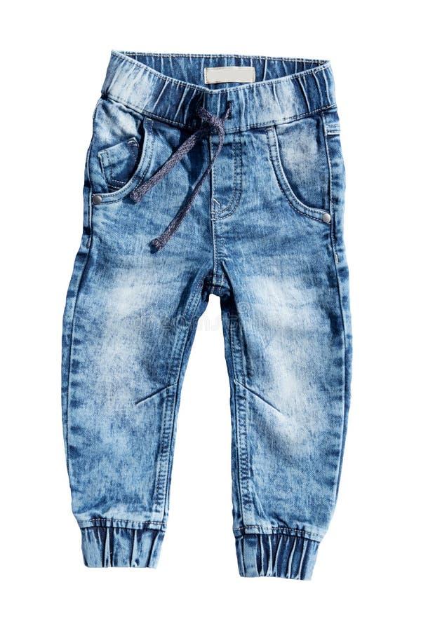 在白色背景隔绝的蓝色牛仔裤裤子 时兴的jea 免版税库存图片