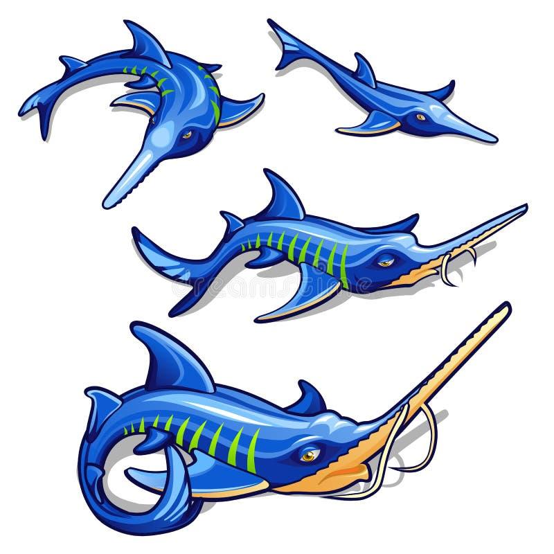 在白色背景隔绝的蓝色鲟鱼成长阶段 商业鱼 动画片传染媒介特写镜头例证 皇族释放例证