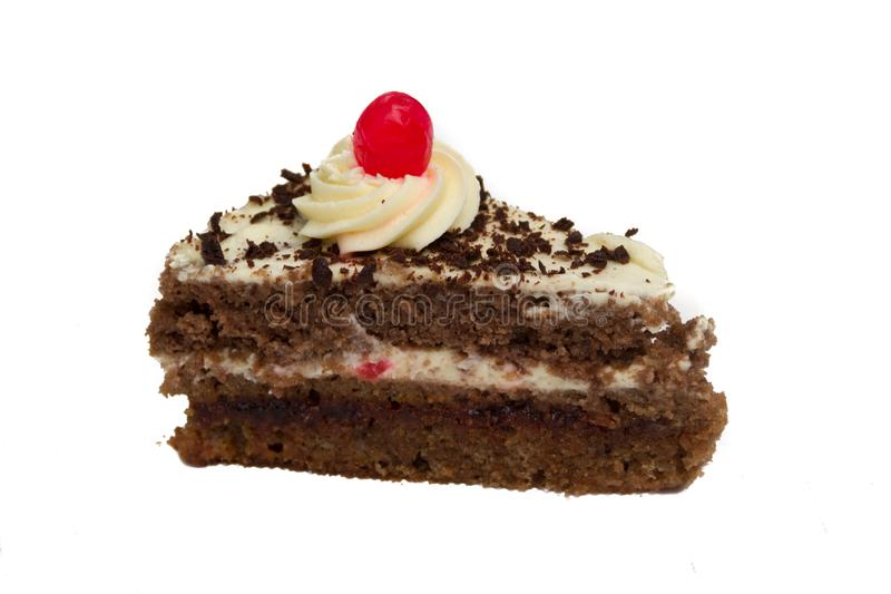 在白色背景隔绝的蛋糕的部分 图库摄影
