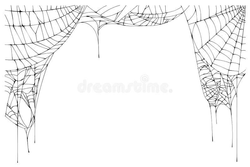 在白色背景隔绝的蜘蛛网被撕毁的框架 皇族释放例证