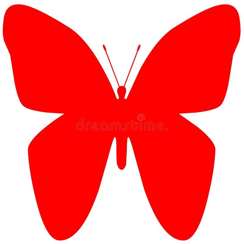在白色背景隔绝的蝴蝶红色 向量例证