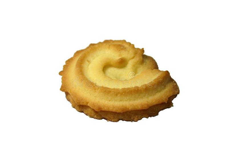 在白色背景隔绝的螺旋曲奇饼 裁减路线 免版税库存图片