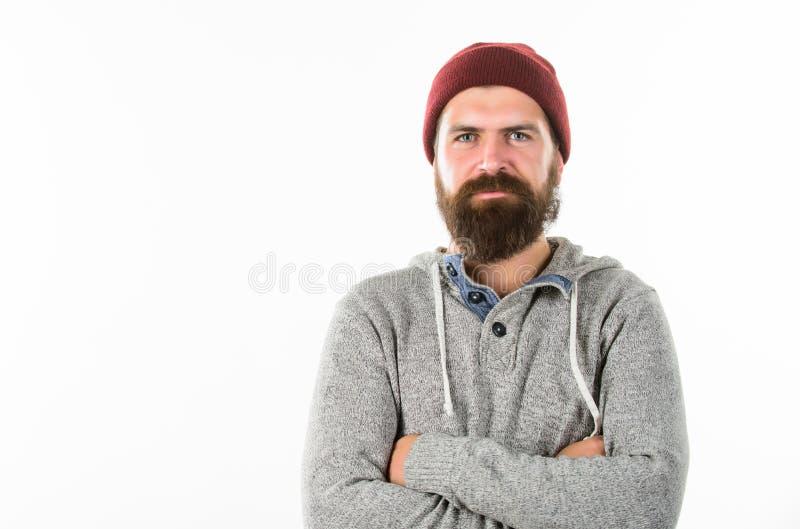 在白色背景隔绝的行家人 r 帽子的愉快的有胡子的人 与胡子的残酷男性 理发店沙龙 免版税图库摄影