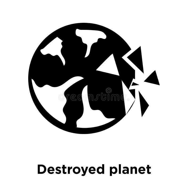 在白色背景隔绝的被毁坏的行星象传染媒介,商标 向量例证