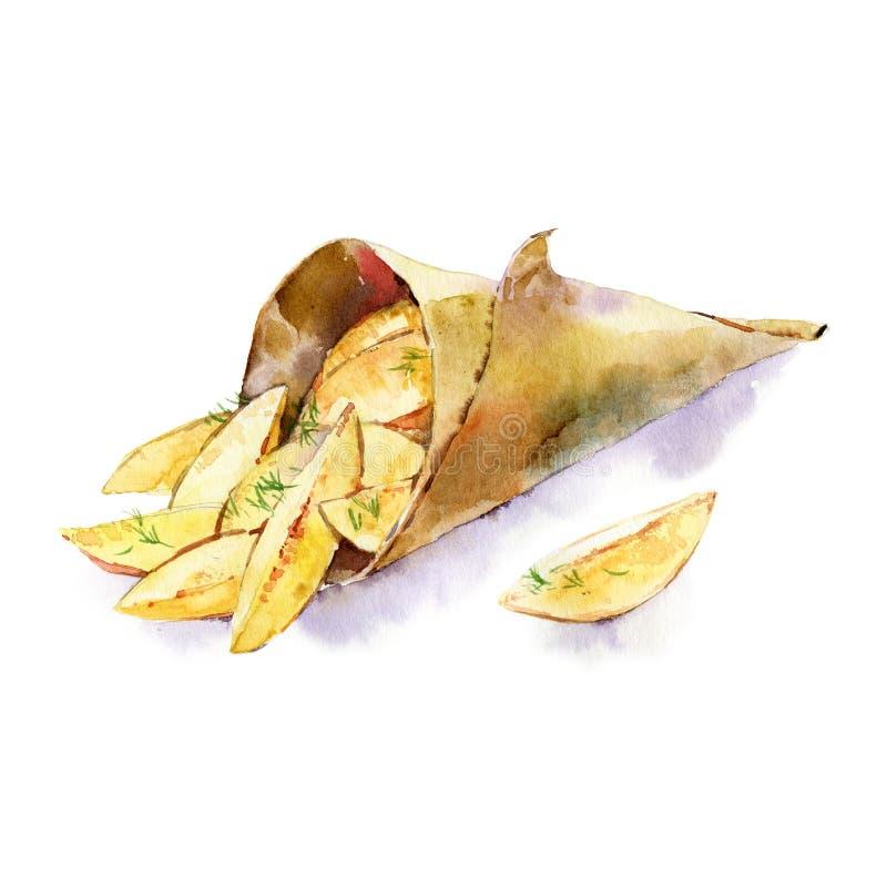 在白色背景隔绝的被烘烤的土豆水彩例证 自创有机素食主义者快餐 在的薯片 皇族释放例证