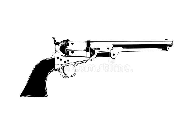 在白色背景隔绝的西部枪手拉的剪影 详细的葡萄酒蚀刻图画 皇族释放例证