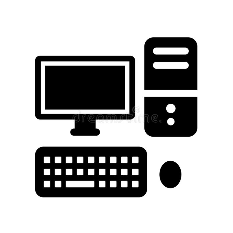 在白色背景隔绝的计算机象 库存例证
