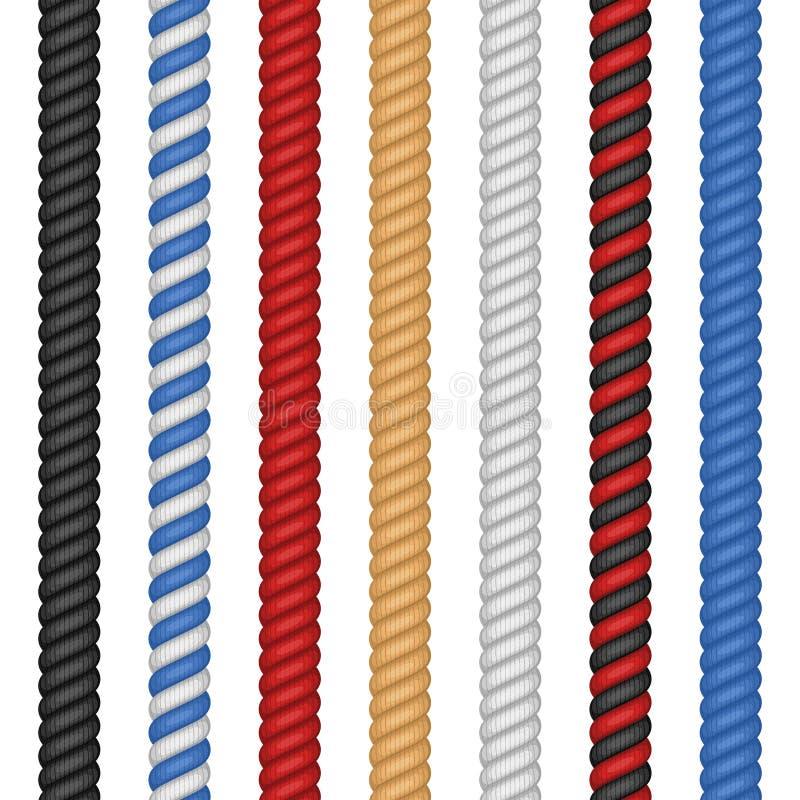 在白色背景隔绝的设置不同的五颜六色的绳索 在平的动画片样式的船舶扭转的绳索麻线 向量 向量例证