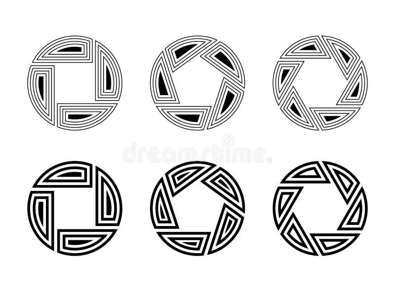 在白色背景隔绝的设置六件抽象圆装饰品 神圣的几何标志 皇族释放例证