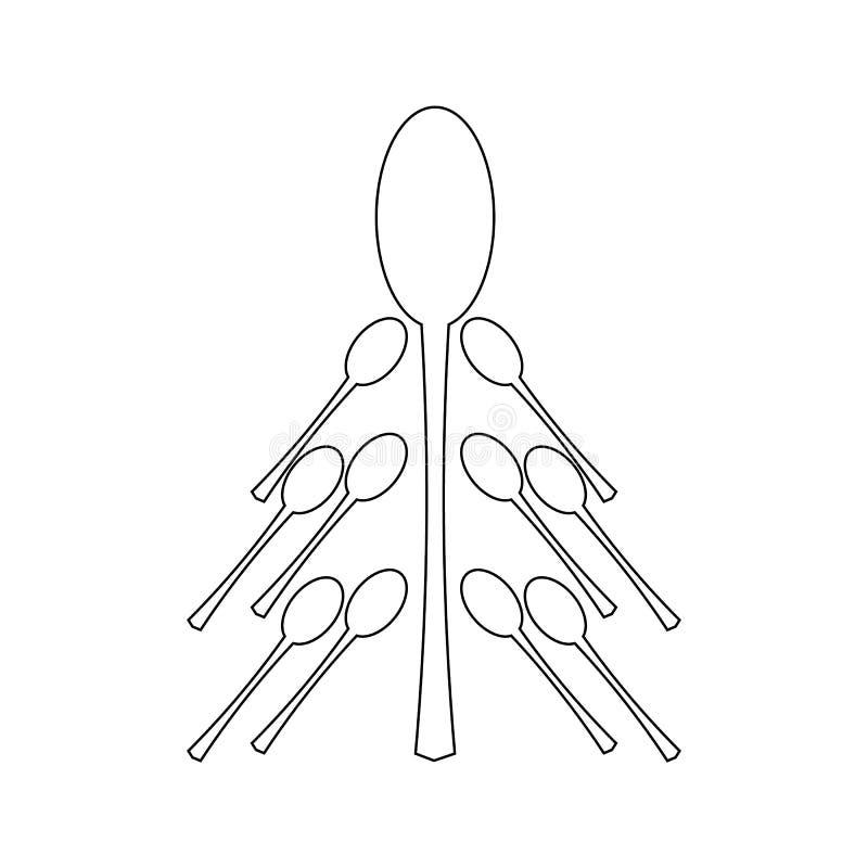 在白色背景隔绝的设置匙子,例证 从匙子的杉树 圣诞节餐馆设计 库存例证