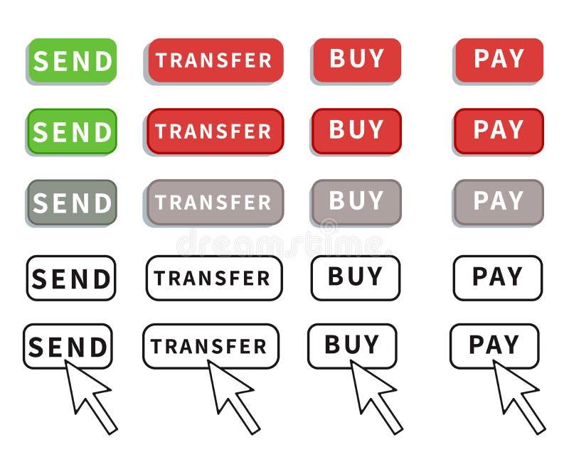 在白色背景隔绝的设置平的按钮设计 薪水,送,买和转移有圆角落和概述翱翔的按钮 皇族释放例证