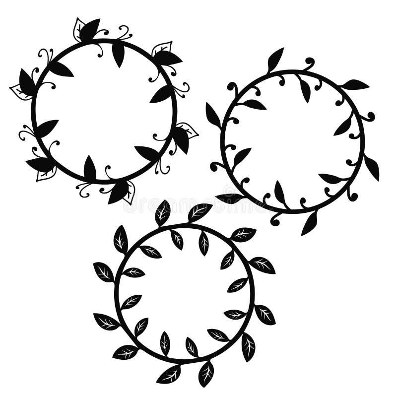 在白色背景隔绝的设置花卉圆的框架 皇族释放例证