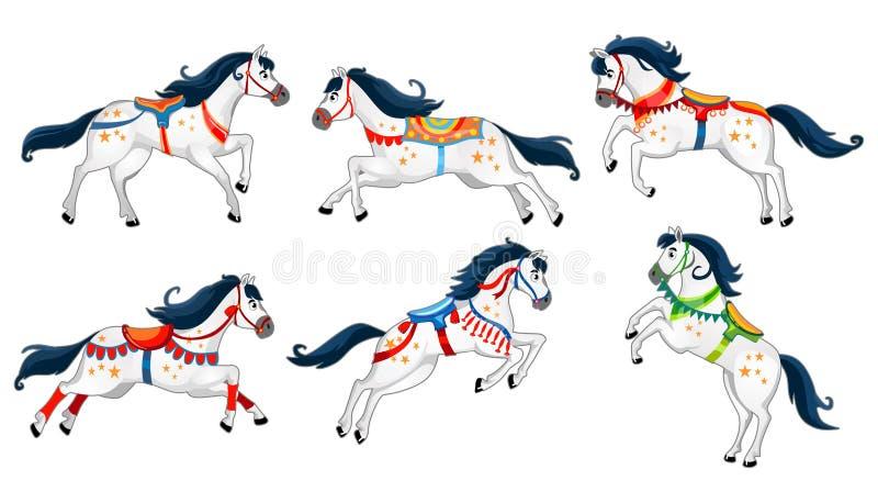 在白色背景隔绝的设置逗人喜爱的动画片马 转盘、邀请、卡片,海报的等跑的白色传染媒介马 向量例证