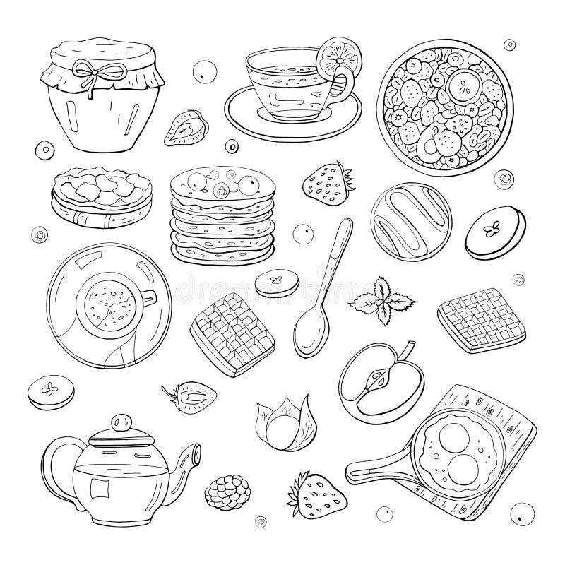 在白色背景隔绝的设置黑白早晨早餐元素 茶,炒蛋 咖啡,蜂蜜 库存例证
