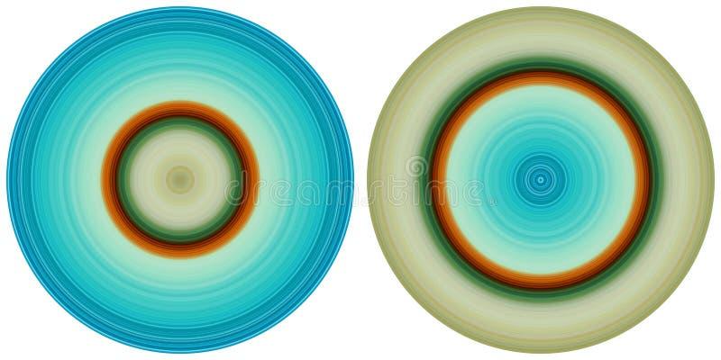 在白色背景隔绝的设置2个明亮的抽象五颜六色的圈子 圆线、辐形镶边纹理在红色,蓝色和g 向量例证