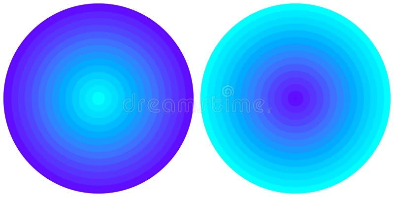 在白色背景隔绝的设置2个明亮的抽象蓝色和深蓝辐形梯度圈子 与圆线的纹理 生动的c 皇族释放例证