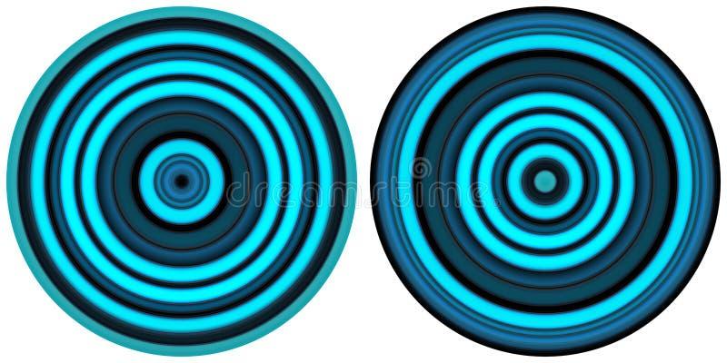 在白色背景隔绝的设置2个明亮的摘要五颜六色的霓虹蓝色圈子 圆线,辐形镶边纹理 回合p 库存例证