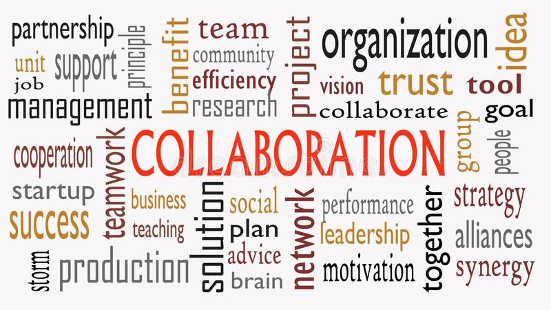在白色背景隔绝的词云彩的合作概念-例证 库存图片