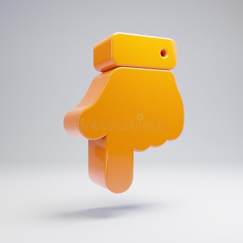 在白色背景隔绝的象下的容量光滑的热的橙色手点 皇族释放例证