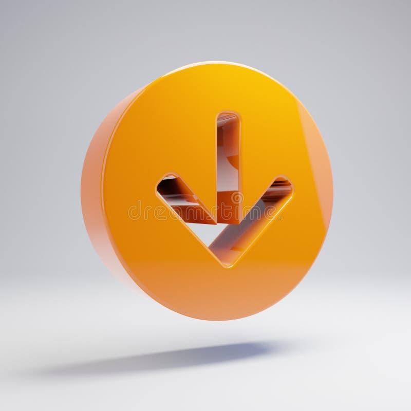 在白色背景隔绝的象下的容量光滑的热的橙色箭头圈子 向量例证