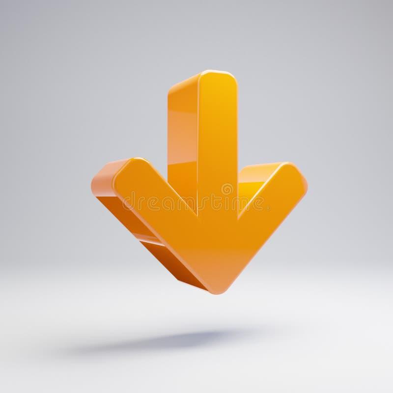 在白色背景隔绝的象下的容量光滑的热的橙色箭头 皇族释放例证
