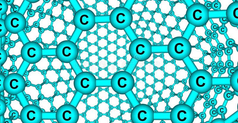 在白色背景隔绝的象Graphene的分子结构 皇族释放例证