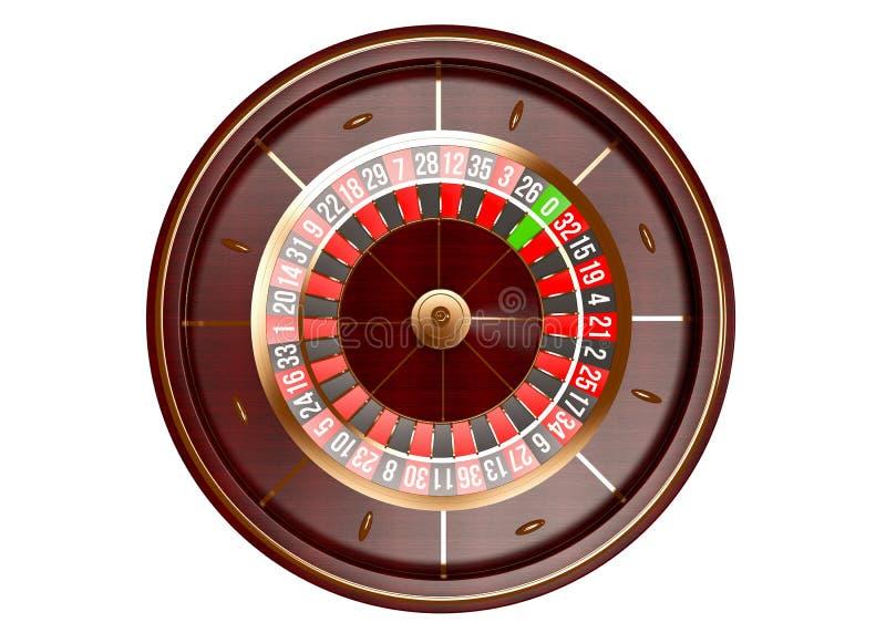 在白色背景隔绝的赌博娱乐场轮盘赌的赌轮顶视图 截去容易的编辑文件例证的3d包括了路径翻译 免版税库存图片