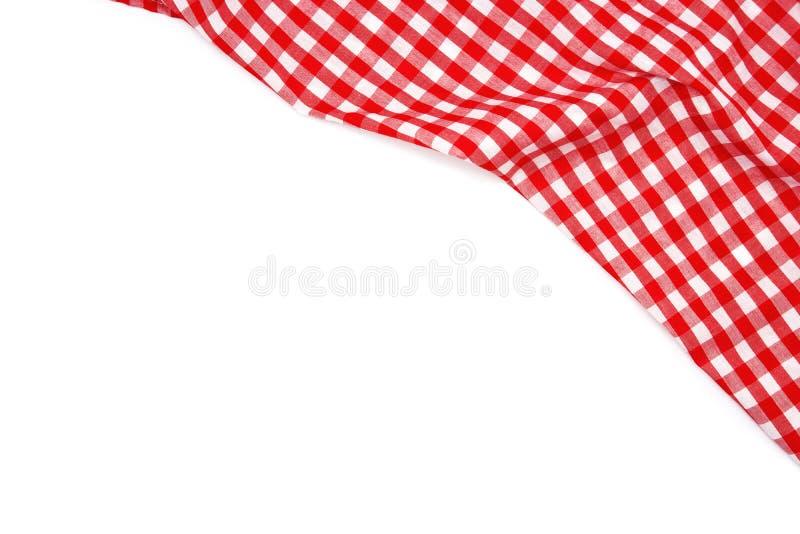 在白色背景隔绝的起皱纹的红色方格花布织品 库存照片