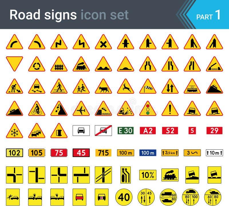在白色背景隔绝的路标 警报信号、补全板材和军事标志 库存例证
