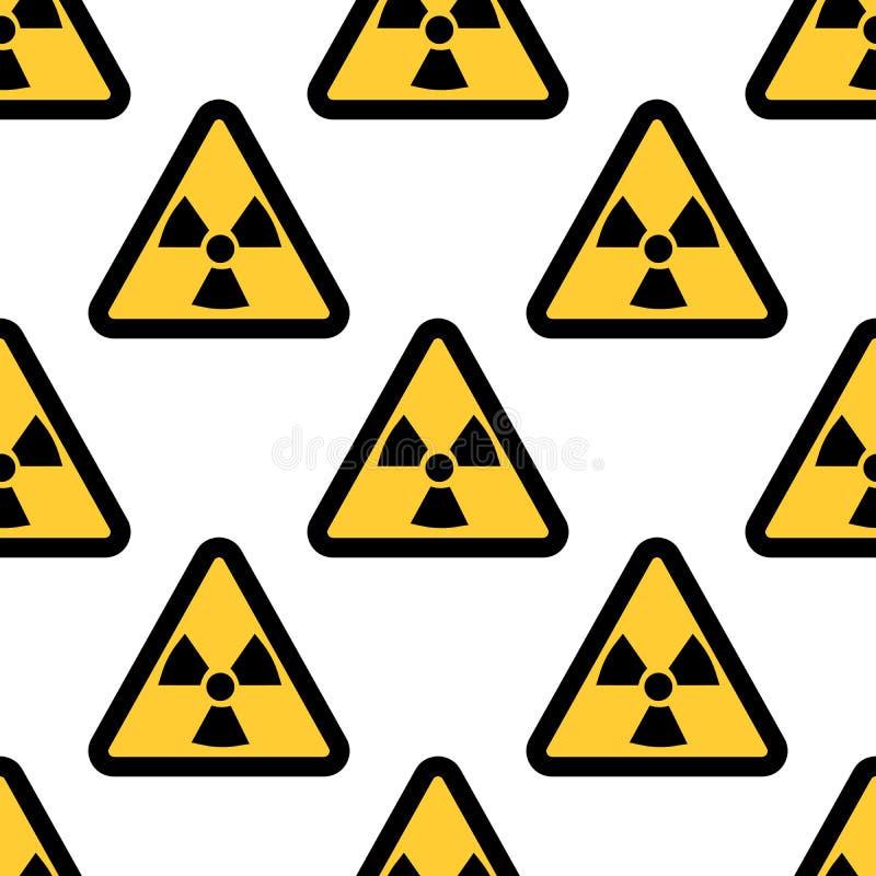 在白色背景隔绝的辐射警报信号无缝的样式 平的设计 库存例证