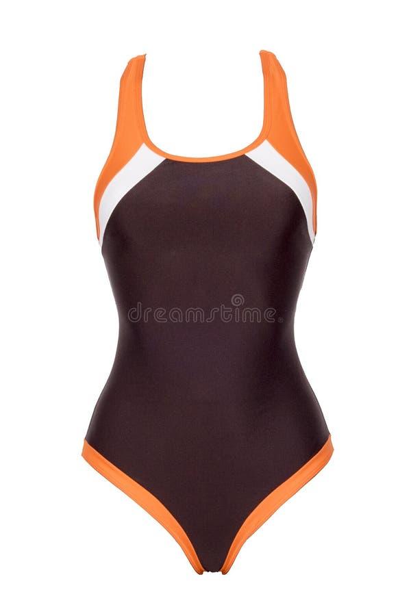 在白色背景隔绝的运动的棕色一件泳装特写镜头  库存照片