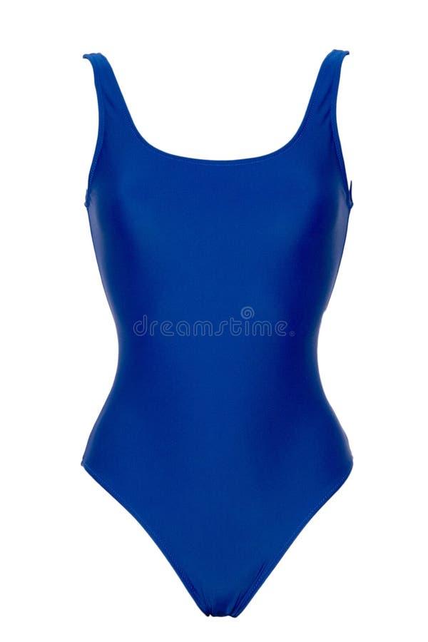在白色背景隔绝的运动的蓝色一件泳装特写镜头  免版税库存图片
