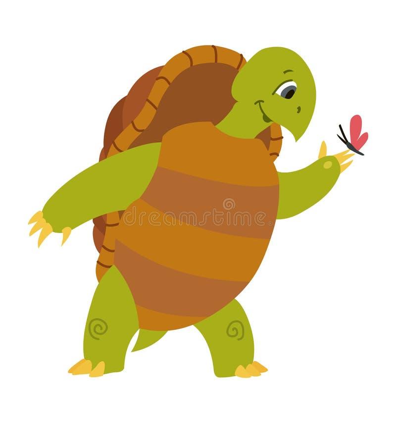 在白色背景隔绝的逗人喜爱的乌龟动画片的传染媒介例证 库存例证