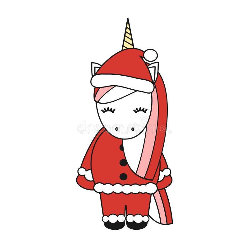 在白色背景隔绝的逗人喜爱的动画片传染媒介圣诞节独角兽 皇族释放例证