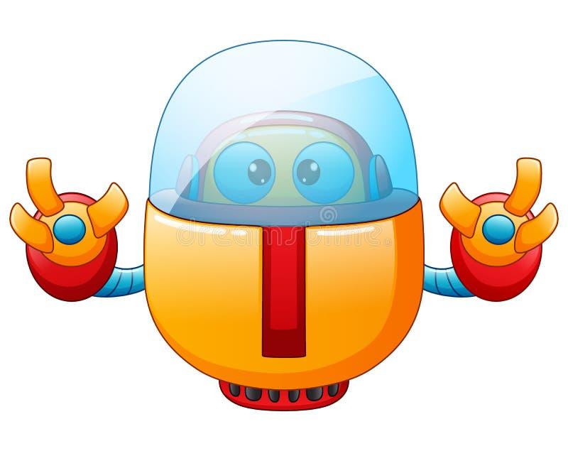在白色背景隔绝的逗人喜爱的动画片机器人 库存例证