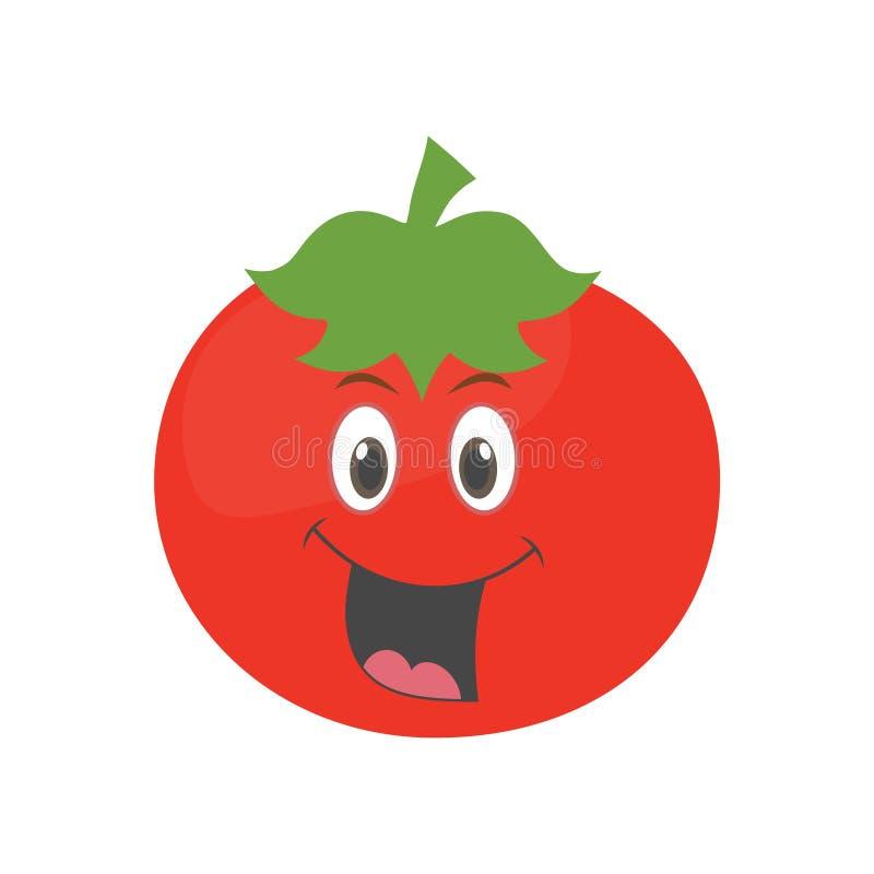 在白色背景隔绝的逗人喜爱的菜蕃茄漫画人物 库存例证