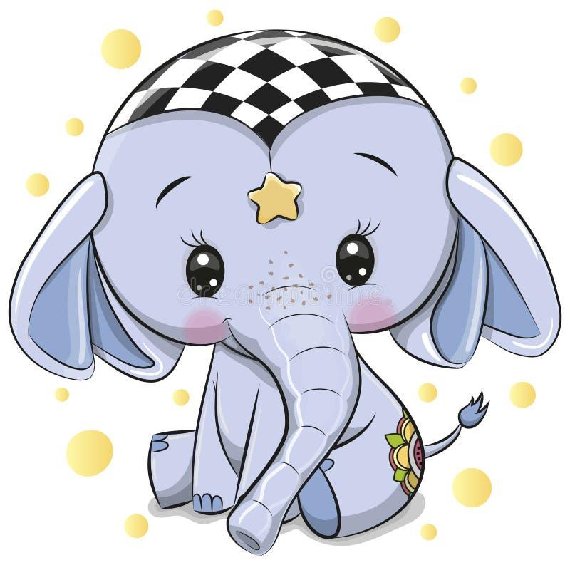 在白色背景隔绝的逗人喜爱的蓝色大象 向量例证