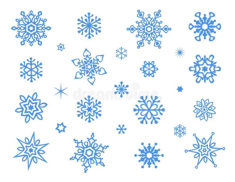 在白色背景隔绝的逗人喜爱的雪花收藏 免版税图库摄影