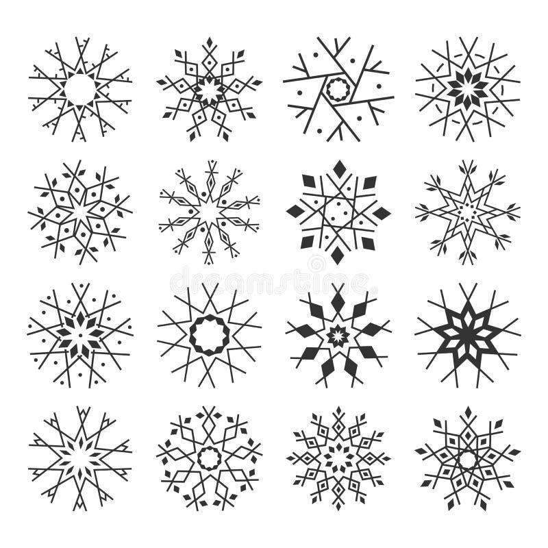 在白色背景隔绝的逗人喜爱的雪花收藏 向量例证