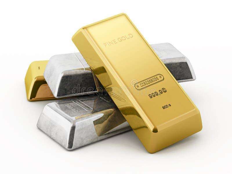 在白色背景隔绝的金和银锭 3d例证 向量例证