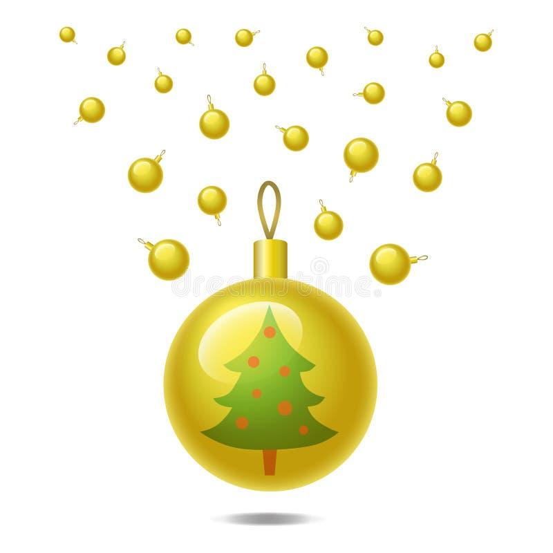 在白色背景隔绝的金黄圣诞节球 也corel凹道例证向量 库存图片