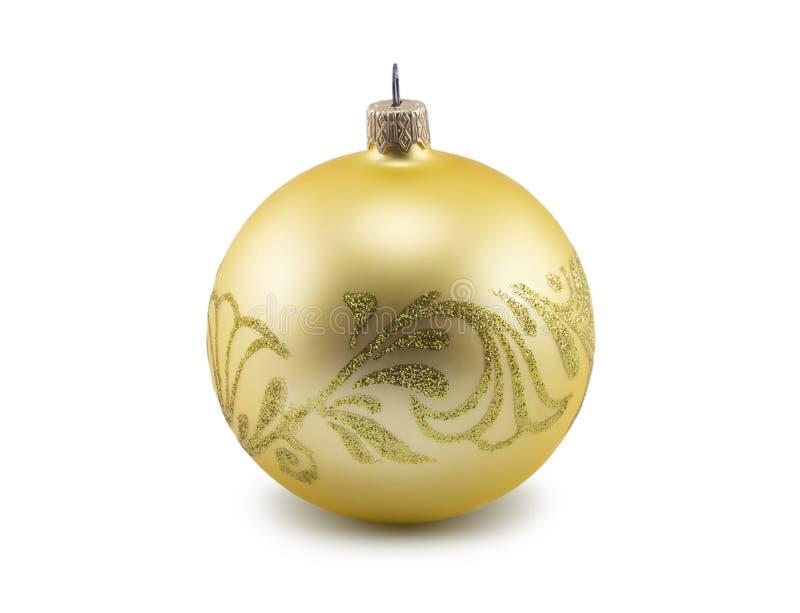 在白色背景隔绝的金黄圣诞节球 图库摄影