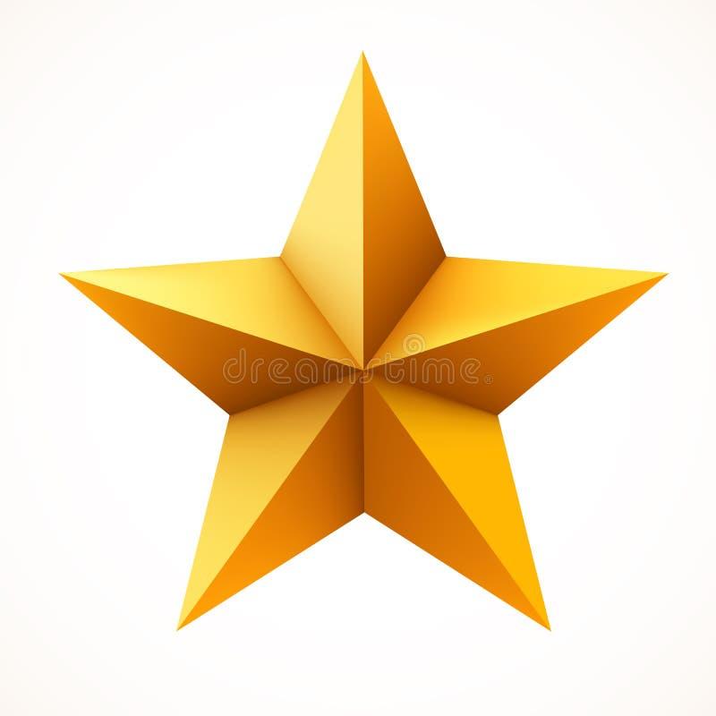 在白色背景隔绝的金黄星 圣诞节或者奖标志 向量例证