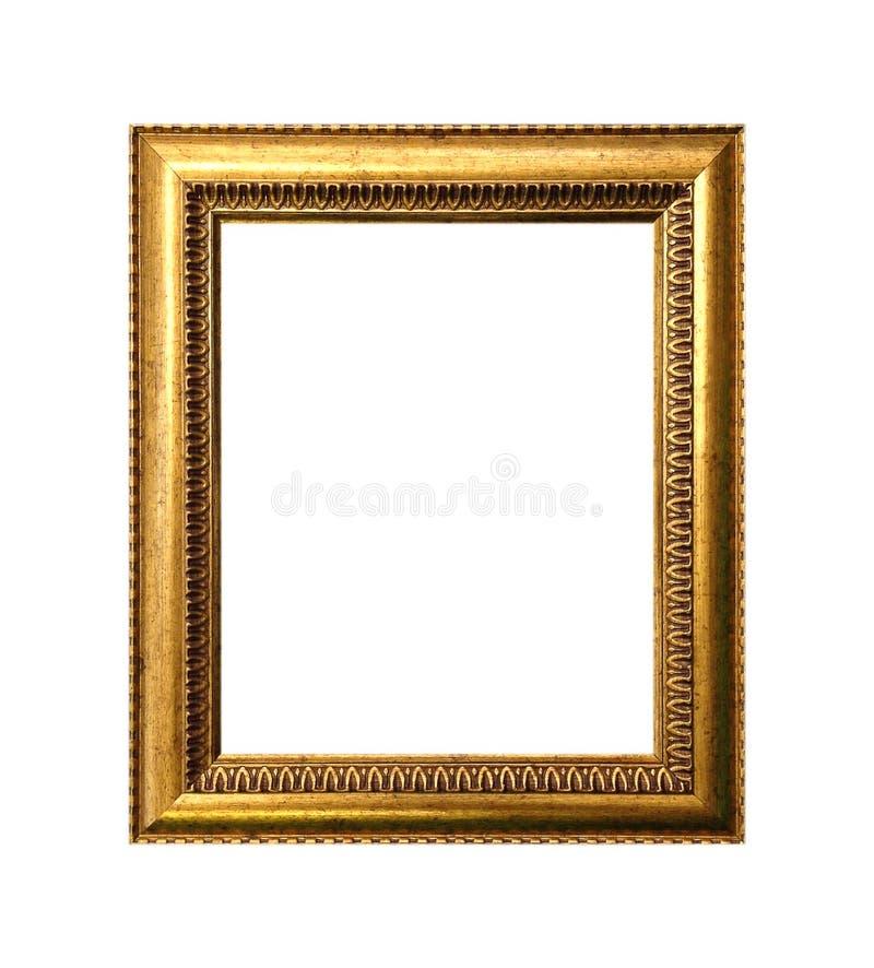 在白色背景隔绝的金黄框架 图库摄影