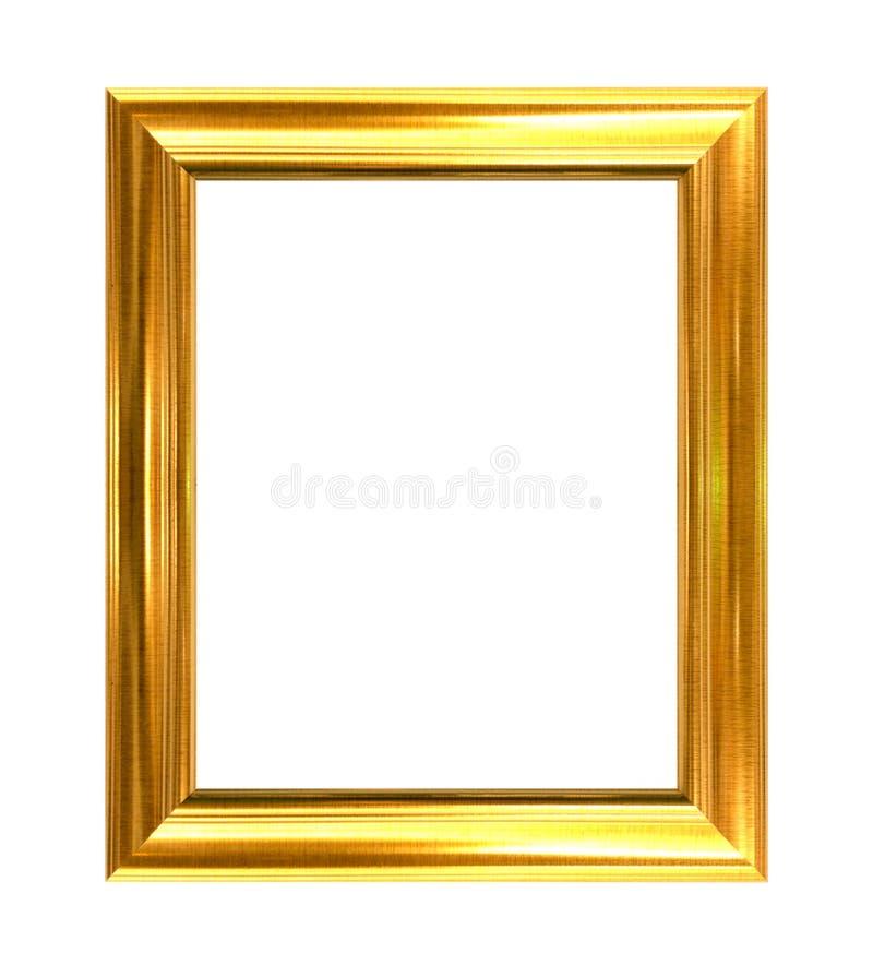 在白色背景隔绝的金黄框架 免版税库存照片