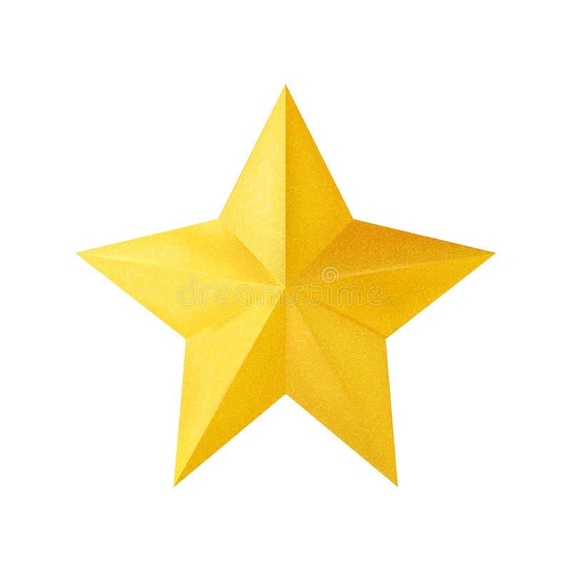 在白色背景隔绝的金黄现实3D圣诞节星 也corel凹道例证向量 向量例证