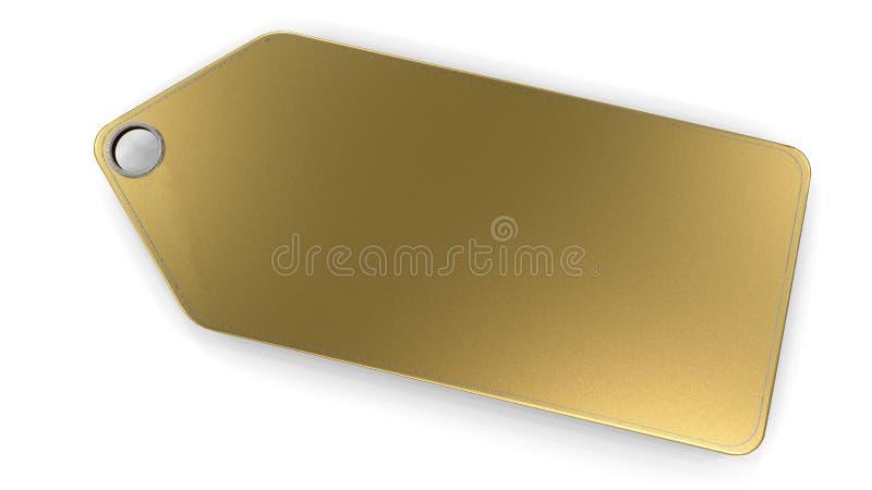 在白色背景隔绝的金黄空白的价牌 皇族释放例证